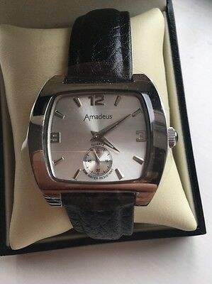 New In Box Men's Amadeus Watch With Black Leather Strap