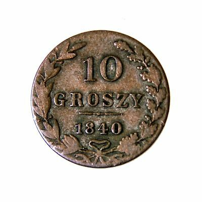 Original 1840 Russian Empire Poland 10 Groszy F Ag 194 Father's Day Gift