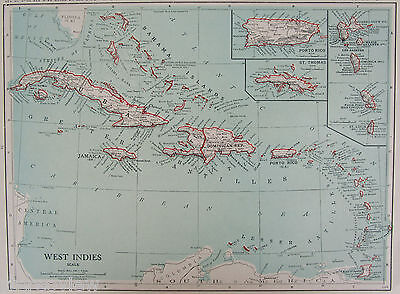 Vintage 1920 CARIBBEAN WEST INDIES Wall Map Art PUERTO RICO, Jamaica, St Lucia