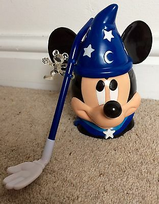 Disney Live Mickey Fantasia Mug Cup Plastic With Straw Excellent Condition