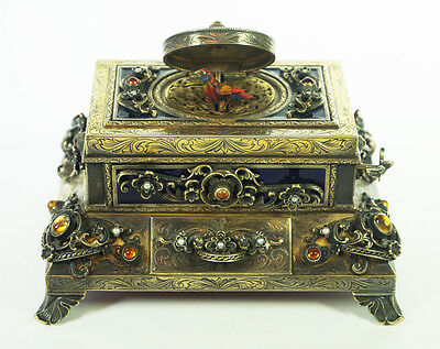 Rare Silver, Gold Plated & Enamel  Singing Bird Box Music Box Automaton