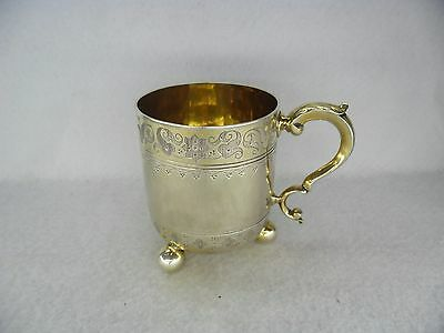 Quality Sterling Solid Silver Christening Mug Tankard London 1872