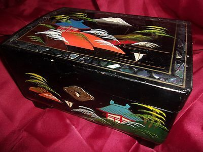 Antique 1910 Japanese Lacquer & Mother of Pearl Jewelry Music Box A L STERLING