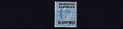 Morocco Agencies  1907  Sg 124     25C On  2 1/2D  Bright Blue Mh Cat £60