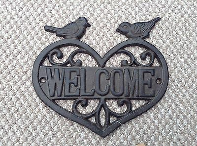 "NEW Rustic Cast Iron ""Welcome"" Wall with Birds Sign Plaque ~ Outdoor Garden"