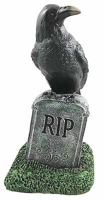 """Vulture Crow Raven Perching On Tombstone RIP Graveyard Figurine Sculpture 8""""H"""