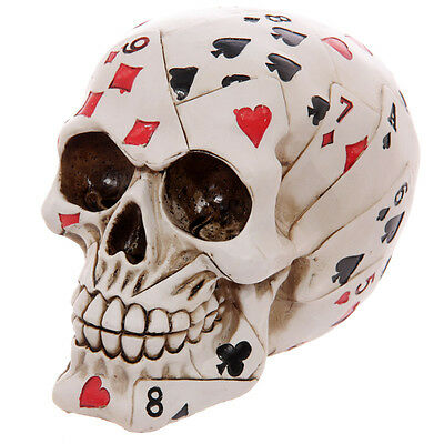 Poker Face Playing Cards Decorated Human Skull Ornament