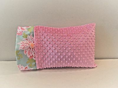 NWT Pink Dahlia Floral Minky Toddler Pillowcase 12x16 Girl Child Bed Decor Nap