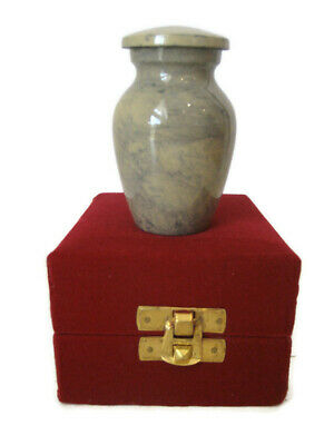 "3"" Going Home Cremation Memorial Keepsake Ashes to Ashes Brass Urn + Velvet Case"