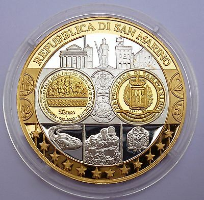 San Marino 50 Euro 2002 Proof Coin Silver 999 with 24K Gold Plated Coin / Medal