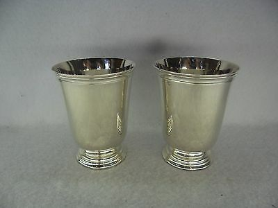 Pair of Christofle French Solid Silver Tumbler Cup Beakers