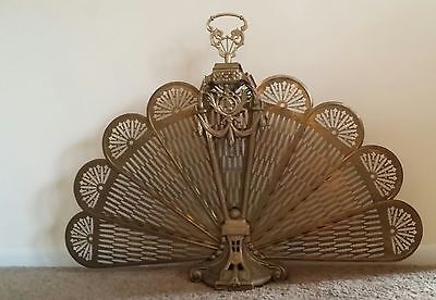 Elegant Antique French Brass Fan/fireplace Screen Victorian Cameo Center Lovely
