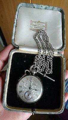Vintage pocket watch silver case with chain need repair