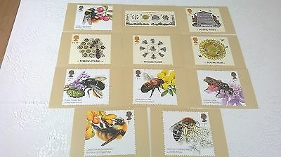 Set of 11 postcards of Royal Mail stamps – Bees (see  photos)