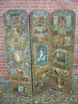 Antique Victorian Scrap Screen Decoupage 3 Panel Folding Room Divider - c 1850