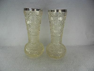 Pair of Solid Silver Rimmed Cut Glass Flower Vases, London 1900