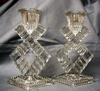 Pair of Vintage Glass or Crystal Candlesticks Candlestick holders 16 cm high