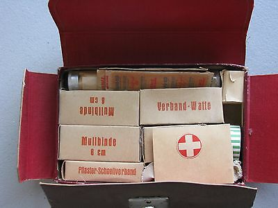 Vintage German/ Swiss First Aid Kit, Faux Leather Box early/mid 20th century