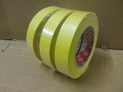"25mm High Quality Low Bake Masking Tape  (3 rolls) 50m long 1"" Yellow 80 degree"