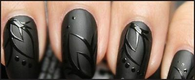 Hand Painted False Nails. STILETTO (Or ANY SHAPE) Matt Matte Black. Full Cover