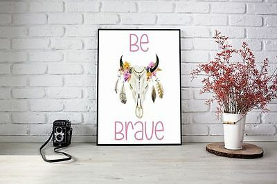 Printable Wall Art, Digital Download, Be Brave Girls Nursery Print