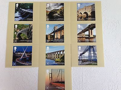 Set of 10 postcards of Royal Mail stamps – Bridges (see  photos)