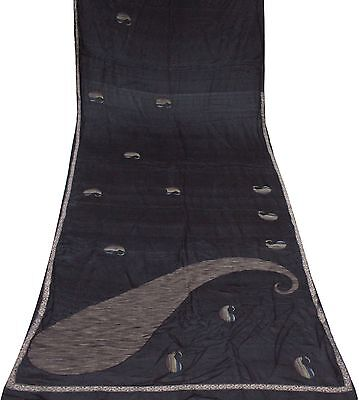 Black Sari Vintage Pure Silk Fabric Paisley Patch Work Indian Saree Wrap Dress