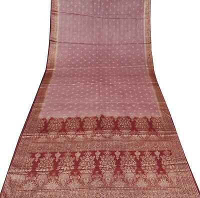 Uk Brown Sari Vintage Heavy Embroidered Silk Fabric Bollywood Dress Wrap Saree