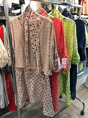 Wholesale Job Lot Ladies Lagenlook Italian 3pc Polka Dot Dress 10pcs Mix Colors