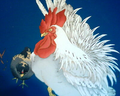 Rare Antique Japanese Cloisonne Plate Cockerel / Rooster