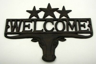 """Steer 3 Stars Welcome Plaque 13"""" Wide by 9 3/4"""" Home Western Decor 0170S-08680"""