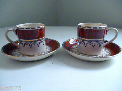 *VERY RARE*Pair of c1936 'MOROCCO BORDER' Cups & Saucers by BOOTHS*Stunning