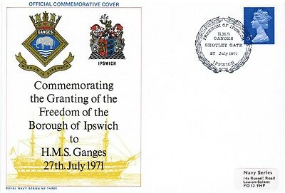 GB FDC Granting of Freedom of Ipswich - HMS Ganges 27th July 1971