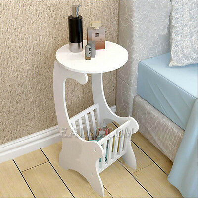 Small Round Coffee Table White Wooden Magazine Rack Sofa End Side Tea Lamp Stand