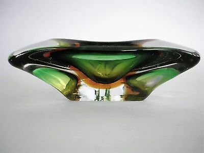 Mid Century Cenedese Murano Italy Geode Green Amber Triangular Art  Glass Bowl