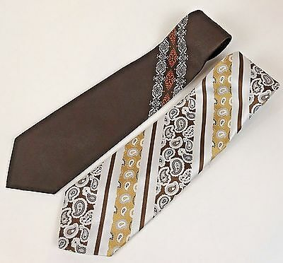 """Beau Brummell Wide Tie 1970's 2 Polyester Neckties 53.5"""" and 55"""" Vintage Ugly"""