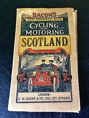 Scare Edwardian Bacon's Cycling & Motoring Canvas Backed Map Of Scotland