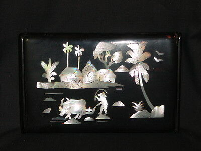 VIETNAMESE VINTAGE MOTHER of PEARL INLAY LACQUERED WOODEN BOX HINGED LID