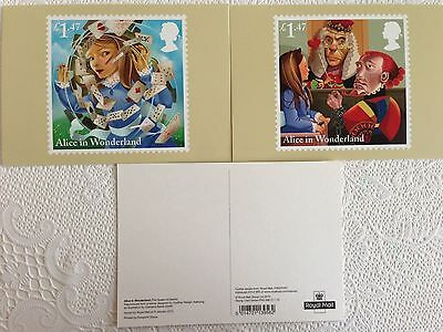 Set of 9 postcards of Royal Mail stamps – Alice in Wonderland (see  photos)