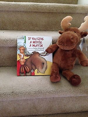 Child's Moose Plush And Story Book   If You Gave A Moose A Muffin