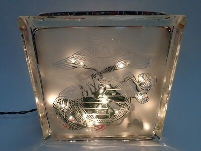 Usmc Glass Block Lighted Display Lamp Eagle Globe Anchor Semper Fi Marine Corps