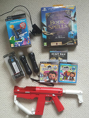 OFFICIAL SONY MOVE Motion Controller x2 SHARP SHOOTER Book of Spells Lot PS3 PS4