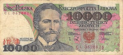 Poland  10,000  Zlotych  1.12.1988  Series CL Circulated Banknote E422EL