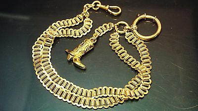 Antique gold filled Pocket Watch double chain/ fob/T-bar 11inch