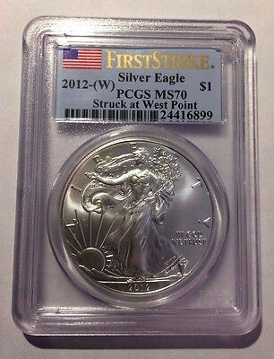 2012-W US $1 Silver Eagle 1st Strike STRUCK AT WEST POINT - PCGS MS70