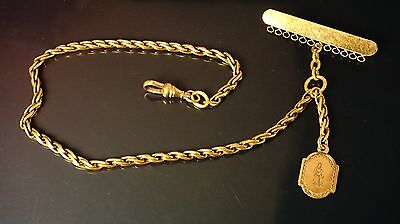 Antique/victorian gold filled Pocket Watch single chain/ fob/pin 12 inch