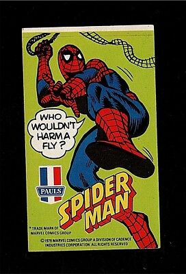 1979 Aussie Amazing Spider-Man T Marvel Pauls Ice Cream Sticker Rare Vintage