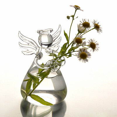 New Cute Clear Glass Angel Shape Flower Plant Stand Hanging Vase Decor