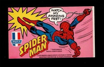 1979 Aussie Amazing Spider-Man Promo Marvel Pauls Ice Cream Sticker Rare Vintage