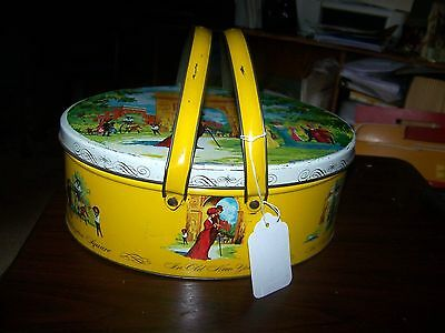 Vintage Dutch Maid English Style Biscuit Tin Sewing Trinket or Picnic Basket #2